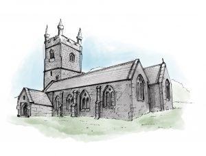 St Leonard's ink sketch colour